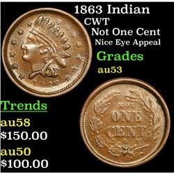 1863 Indian Civil War Token 1c Grades Select AU