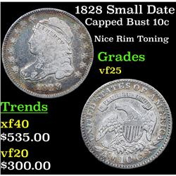 1828 Small Date Capped Bust Dime 10c Grades vf+