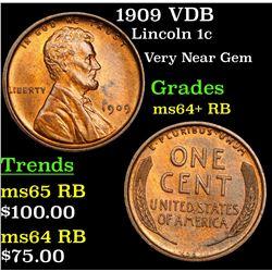 1909 VDB Lincoln Cent 1c Grades Choice+ Unc RB