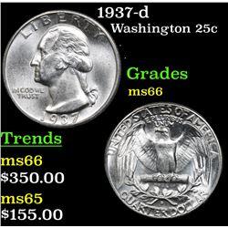 1937-d Washington Quarter 25c Grades GEM+ Unc