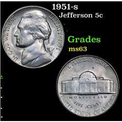 1951-s Jefferson Nickel 5c Grades Select Unc