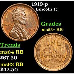 1919-p Lincoln Cent 1c Grades Select+ Unc RB