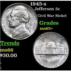 1945-s Jefferson Nickel 5c Grades GEM+ Unc