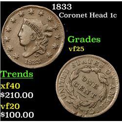 1833 Coronet Head Large Cent 1c Grades vf+