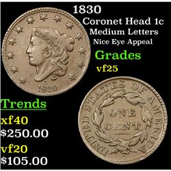 1830 Coronet Head Large Cent 1c Grades vf+