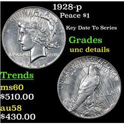 1928-p Peace Dollar $1 Grades Unc Details