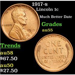 1917-s Lincoln Cent 1c Grades Choice AU
