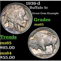 1936-d Buffalo Nickel 5c Grades GEM Unc