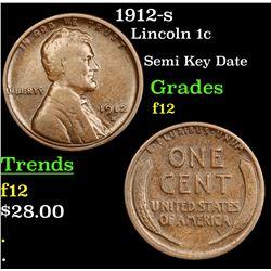 1912-s Lincoln Cent 1c Grades f, fine
