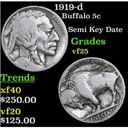 1919-d Buffalo Nickel 5c Grades vf+