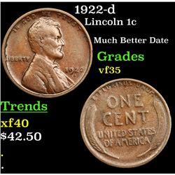 1922-d Lincoln Cent 1c Grades vf++