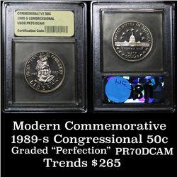 1989-s Congress . . Proof Commem Half Dollar 50c Graded GEM++ Proof Deep Cameo By USCG