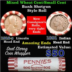 Mixed small cents 1c orig shotgun roll, 1916-s Wheat Cent, 1891 Indian Cent other end
