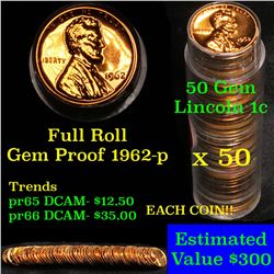 Proof 1962-s Lincoln cent 1c roll, 50 pieces (fc) . .