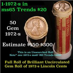 Full Shotgun roll of 1972-s Lincoln Cents 1c Uncirculated Condition . .