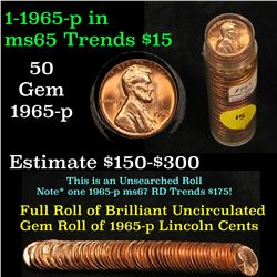 Full roll of 1965-p Lincoln Cents 1c Uncirculated Condition . .