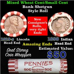 Mixed small cents 1c orig shotgun roll, 1898 Indian Cent, 1919-s Wheat Cent other end