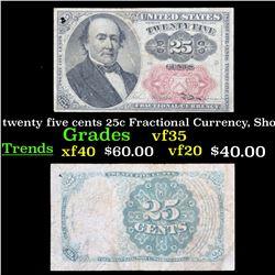 1874 twenty five cents 25c Fractional Currency, Short Key . . Grades vf++