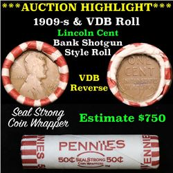 ***Auction Highlight*** Lincoln Wheat cent 1c orig roll, 1909-s on one end,  VDB rev other end, WOW!