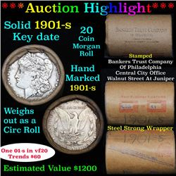 ***Auction Highlight*** Full solid date 1901-s Morgan silver dollar roll, 20 coins   (fc)