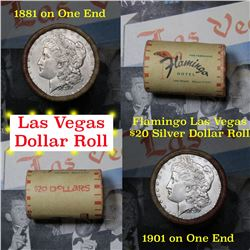 ***Auction Highlight*** Full Morgan/Peace Flamingo Hotel silver $1 roll $20, 1901 & 1881 ends (fc)