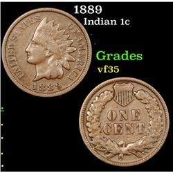 1889 Indian Cent 1c Grades vf++
