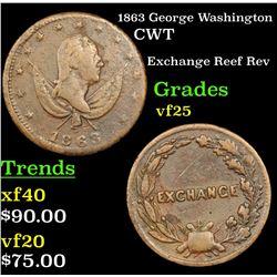 1863 George Washington Civil War Token 1c Grades vf+