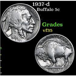 1937-d Buffalo Nickel 5c Grades vf++