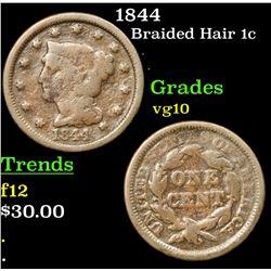 1844 Braided Hair Large Cent 1c Grades vg+