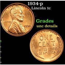 1934-p Lincoln Cent 1c Grades Unc Details