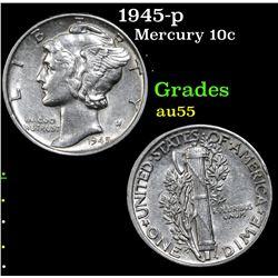 1945-p Mercury Dime 10c Grades Choice AU