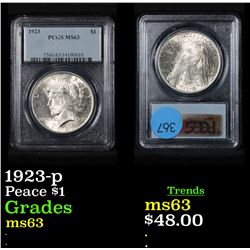 PCGS 1923-p Peace Dollar $1 Graded ms63 By PCGS