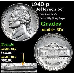 1940-p Jefferson Nickel 5c Grades Choice Unc+ 6fs
