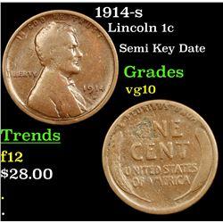 1914-s Lincoln Cent 1c Grades vg+