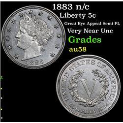 1883 n/c Liberty Nickel 5c Grades Choice AU/BU Slider