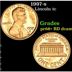 1997-s Lincoln Cent 1c Grades Gem++ Proof Red Deep cameo