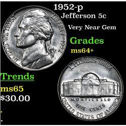1952-p Jefferson Nickel 5c Grades Choice+ Unc