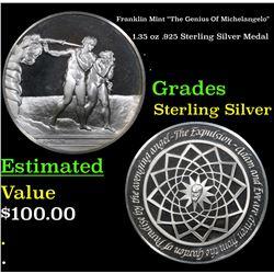"Franklin Mint ""The Genius Of Michelangelo"" 1.35 oz .925 Sterling Silver Medal Grades"
