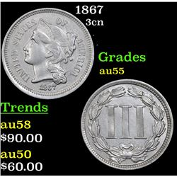 1867 Three Cent Copper Nickel 3cn Grades Choice AU