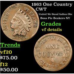 1863 One Country Civil War Token 1c Grades vf details
