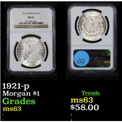 NGC 1921-p Morgan Dollar $1 Graded ms63 By NGC