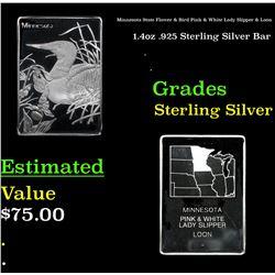 Minnesota State Flower & Bird Pink & White Lady Slipper & Loon 1.4oz .925 Sterling Silver Bar Grades