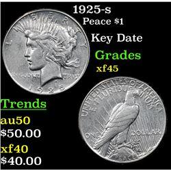 1925-s Peace Dollar $1 Grades xf+