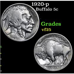 1920-p Buffalo Nickel 5c Grades vf+