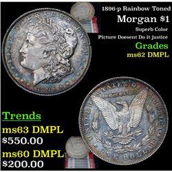 1896-p Rainbow Toned Morgan Dollar $1 Grades Select Unc DMPL