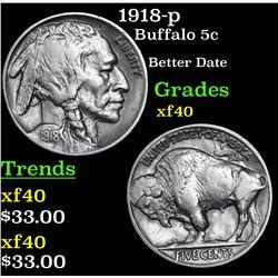 1918-p Buffalo Nickel 5c Grades xf