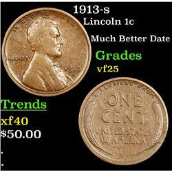 1913-s Lincoln Cent 1c Grades vf+