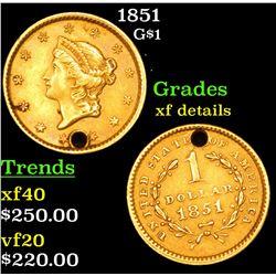 1851 Gold Dollar $1 Grades xf details