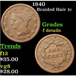 1840 Braided Hair Large Cent 1c Grades f details