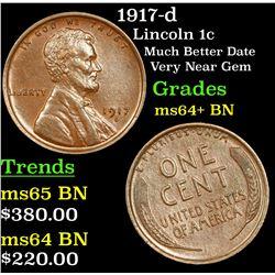1917-d Lincoln Cent 1c Grades Choice+ Unc BN